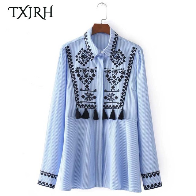 TXJRH Vintage Ethnic Floral Print Embroidery Tassel Blue Striped Blouse  Cozy Casual Shirt Long Sleeve Turn