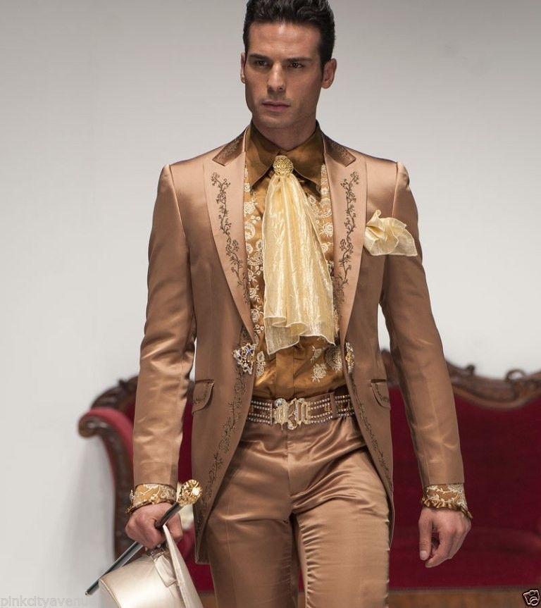 New Arrival Embroidery Groomsmen Peak Lapel Groom Tuxedos Light Brown Men Suits WeddingProm Best Man (Jacket+Pants) C13