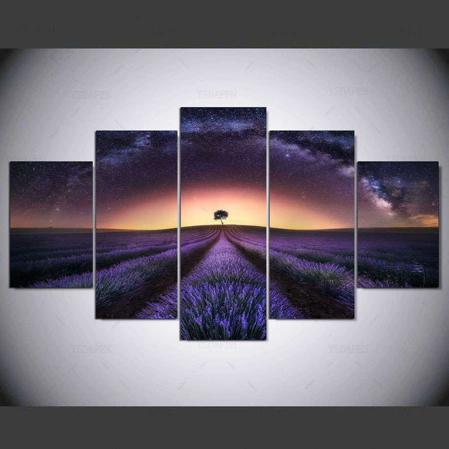 5 panel HD printed painting lavender heart field canvas home decor wall art picture for living room kn-184