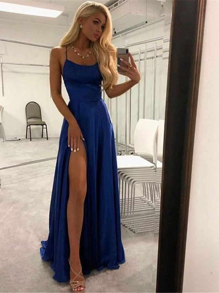 2019 Fashion Elegant Two Piece Black Beading V Neck Cap Sleeve Open Back Prom Dress with Split Evening Formal Dress