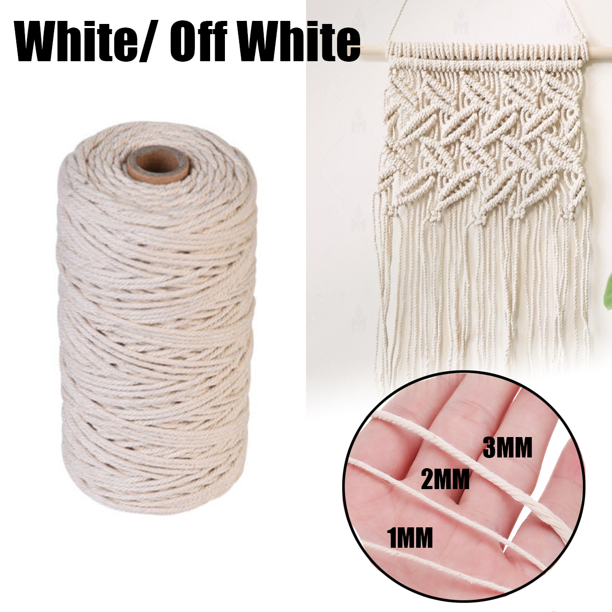 ALI shop ...  ... 32885065889 ... 3 ... 3 Size 1/2/3mm Braided Soft Beige Twisted Cotton Rope Cord Craft Macrame String DIY Handmade Tying Thread Macrame Cord Rope   ...