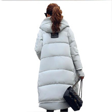 Plus size Women's down cotton filler winter coat thick pregnant coat lambswool collar long slim design down overcoat outerwear