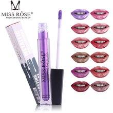 MISS ROSE 12Color Metallic Matte Lip Gloss Liquid Lipstick Waterproof Long Lasting Tint Lipgloss Make Up Beauty Cosmetic Pigment