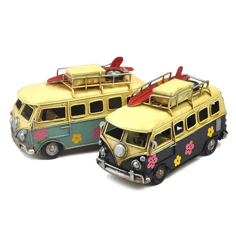 Vintage Car Antique Color Bus Retro Flower Painting Bus Metal Model Handmade Camping Car Caravan for Kid Girl Birthday Gift the vintage caravan