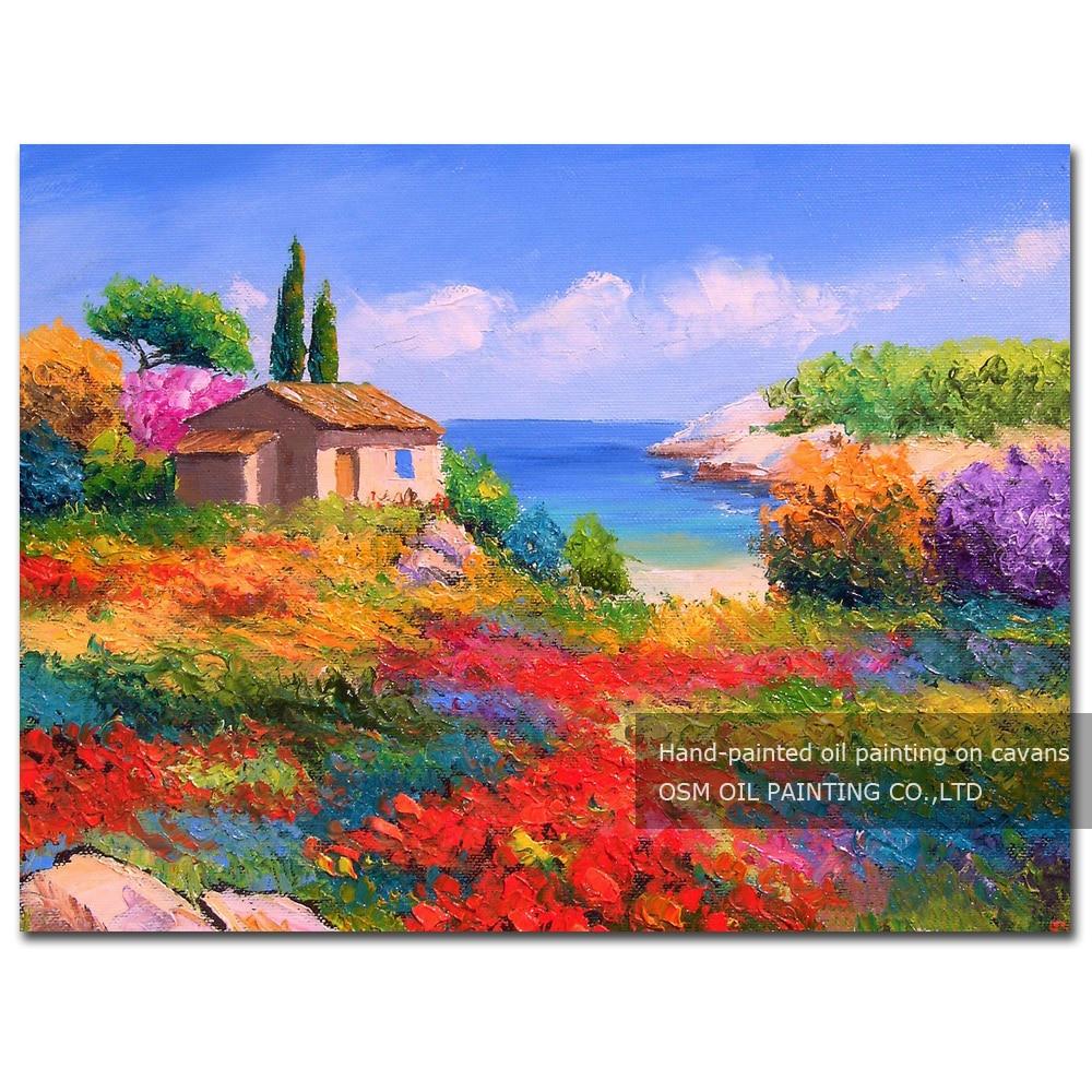 Exp riment fabricant en gros haute qualit printemps jardin paysage peinture l 39 huile moderne - Paysage peinture facile ...
