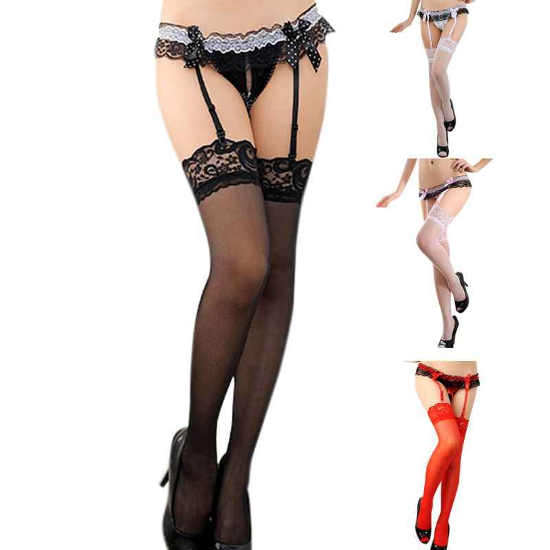 Womens Crotchless Underwear Double Lace Polka Dot Bowknot Faux Pearl G-String With Garter Suspender Belts Stockings