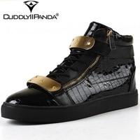 CuddlyIIPanda 2018 Autumn Luxury Design Metal Decoration Men Leather Casual Shoes High Top Zip Sneakers Hook& Loop Flats Zapatos