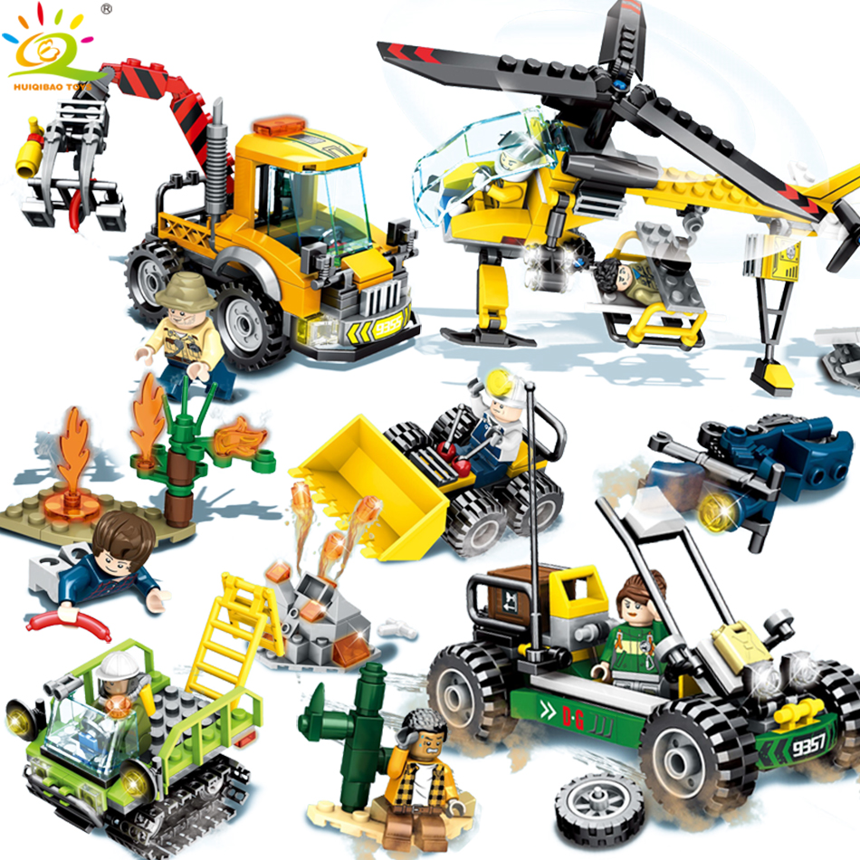 City Rescue team police Building Blocks Compatible Legoed figures truck Helicopter Engineering car Enlighten toys for Children 196pcs building blocks urban engineering team excavator modeling design