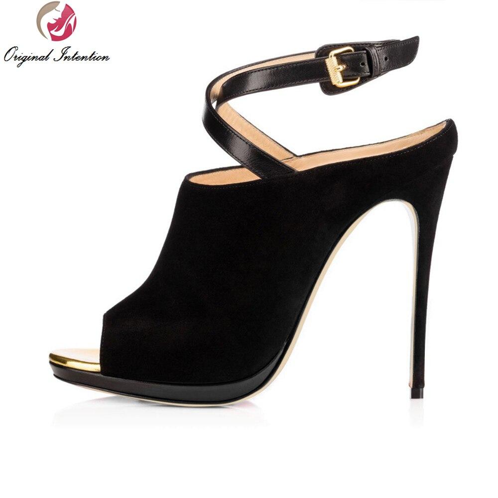 ФОТО Original Intention New Elegant Women Pumps Flock Peep Toe Thin Heels Gorgeous Black Shoes Woman Plus Size 4-15