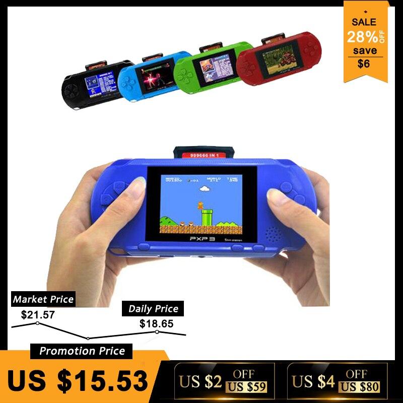 3 pouce 16 Peu PXP3 Mince Station Vidéo Jeux Lecteur De Poche Jeu Avec 2 pcs Carte de Jeu Console intégré 150 jeux classiques