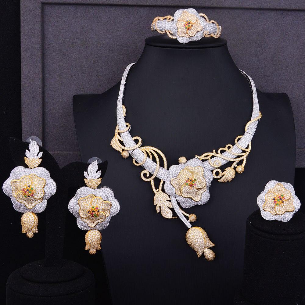 GODKI Super luxe Boom Rose fleur Cluster femmes mariage cubique zircone déclaration collier boucle d'oreille bracelet anneau bijoux ensemble