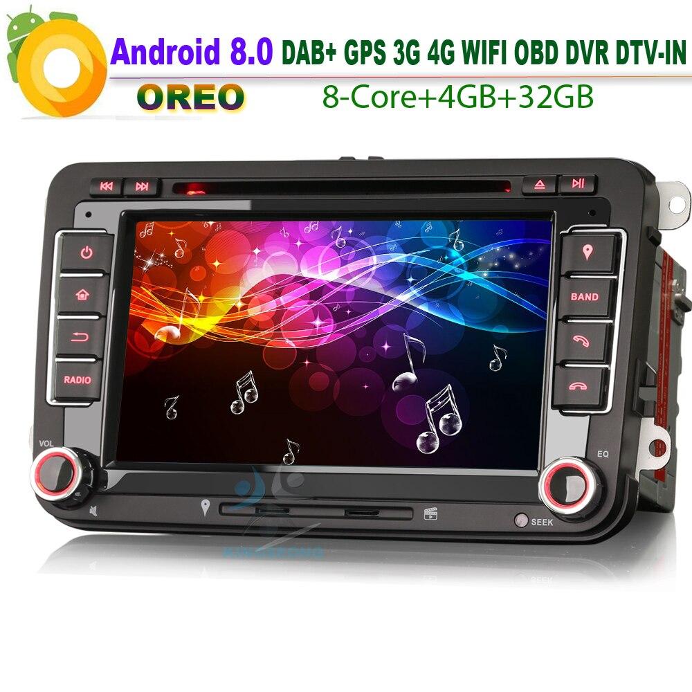 7″ Android 8.0 DAB+ GPS CD Autoradio Sat Nav Radio SD DVR WiFi RDS BT DVD Bluetooth DTV-IN USB Car Stereo for VW Jetta