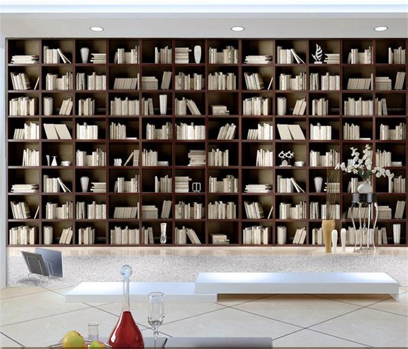 Room Wallpaper Custom Photo Mural Non Woven Wall Sticker Simple Elegant Wooden Bookcase Painting For