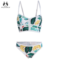 Hot Sexy Floral Biquini Thong Zipper Push Up Swimsuit Plunge Bathing Suit Plus Size Swimwear Women
