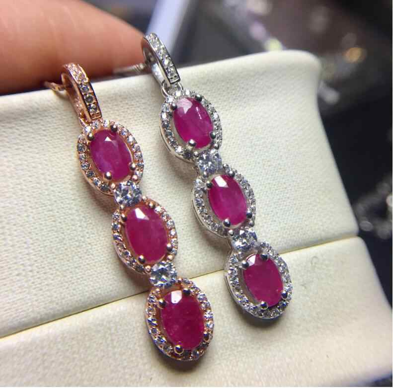 Ruby necklace pendant 4*6mm 3pcs gems Origin and natural ruby 925 sterling silver For men or women jewelry