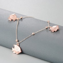 Rose Gold Color Fish Bead Foot Chain For Women