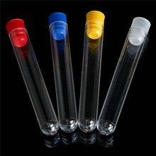 50 stücke 15x150mm 20ml Klare Kunststoff test rohre mit kunststoff blau/rot stopper push kappe für schule experimente und tests
