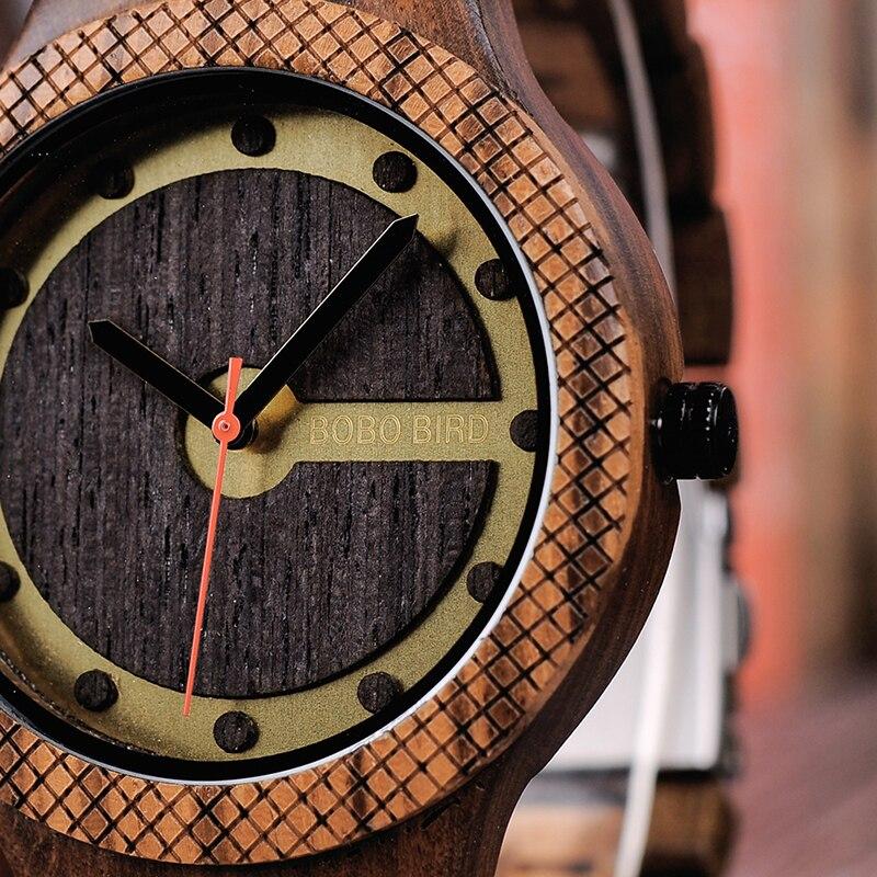 BOBO KUŞ Saatler Erkekler Ahşap İzle Dial Spor Yeni Tasarım Kol - Erkek Saatleri - Fotoğraf 3