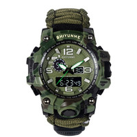 EDC Outdoor Survival Watch Waterproof Emergency Gear Camping Paracord Bracelet Knife Compass Whistle Thermometer First Aid Kits