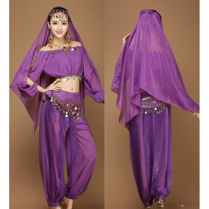 Belly Dance Costumes Set Sequins Tassel Accessories For Adult Women Performance Pratice India Clothes Belly Dancing Outfits