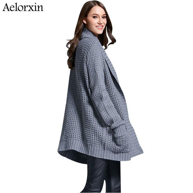 c3ccaf7948 Aelorxin Longo Cardigan Camisola Das Mulheres 2017 Solta Com Decote Em V Manga  Longa Bolsos Cinza