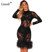 Liooil Black Feathers Sexy Sequin Dress Spring Velvet Patchwork Mesh See Through Long Sleeve Bodycon Women