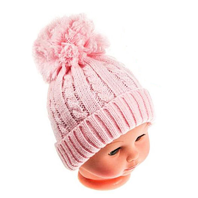 New Knitted Beanies Baby Hat Fox Fur Single/Double Pom Pom Enfant Bonnet Cap Winter Warm Hats For Kids Girls Boys Knit Beanie new star spring cotton baby hat for 6 months 2 years with fluffy raccoon fox fur pom poms touca kids caps for boys and girls