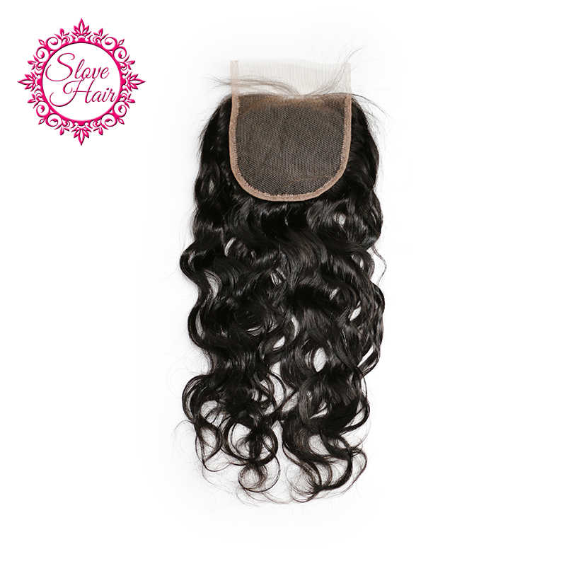 Slove Hair Brazilian Natural Wave Remy Human Hair Lace Closure Free Part With Baby Hair Natural Black Color Bleached Knots