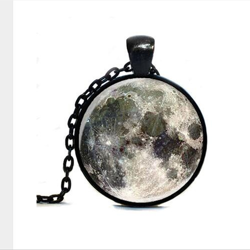 Wholesale Nebula Full Moon Space Pendant ,Astronomy Geek Jewelry,Moon Space Pendant Galaxy Necklace Space Necklace A-041-1 HZ1