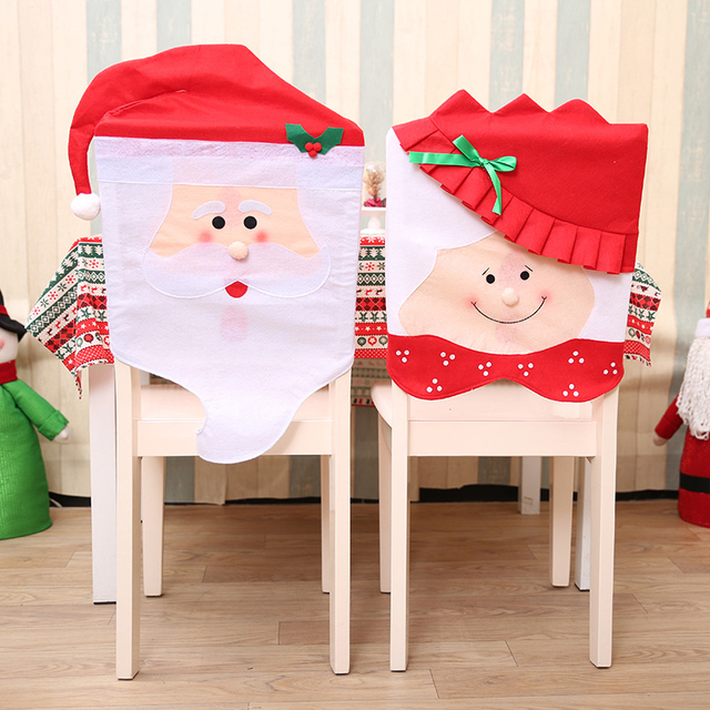 1 Pc Lovely Christmas Chair Cover Seat Dining Santa Claus Decor Xmas Table Christmas Hat Chairs Decor #252403