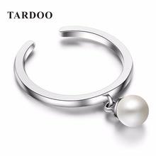 TARDOO Classic Perla Encantos Anillos Gemelos Ajustables para Las Mujeres Genuinas Plata de Ley 925 Perlas de Joyería Fina