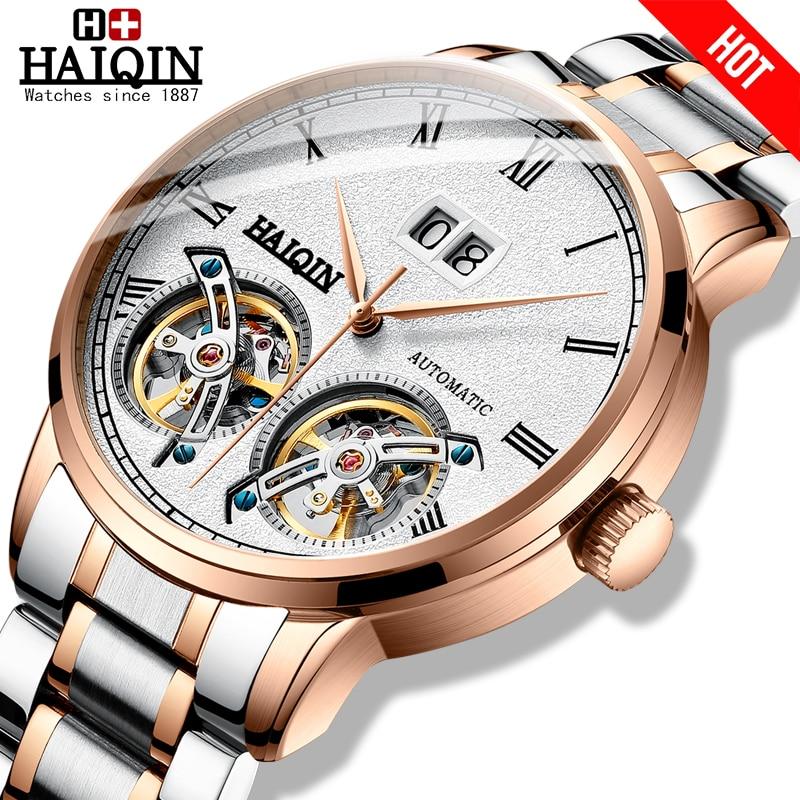 HAIQIN Men's watches Mens Watches top brand luxury Automatic mechanical sport watch men wirstwatch Tourbillon Reloj hombres 2018