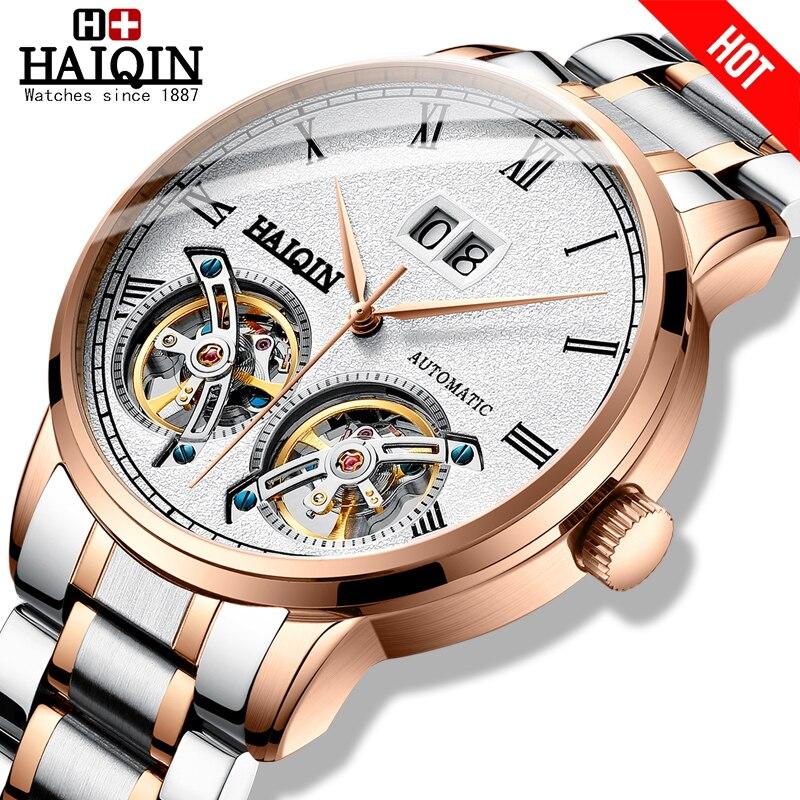 Homens relógios HAIQIN Mens Relógios top marca de luxo Turbilhão mecânico Automático relógio do esporte homens wirstwatch Reloj hombres 2018