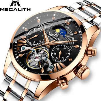 MEGALITH Luxury Tourbillon Automatic Mechanical Watch Men Waterproof Luminous Auto Date Week Watch Men Sport Casual Wristwatches - DISCOUNT ITEM  80% OFF All Category