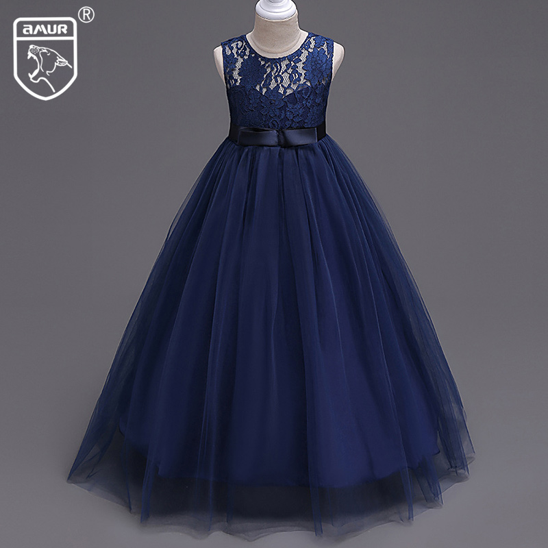 Girl Dresses Sleeveless Princess Lace Dress for Wedding Party Kids Bridesmaid Children Gown vestido Performance Costume 2017 New