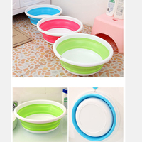 1PCS Folding Wash Basin Outdoor Food Container Silicone Washbasin Bathroom Kitchen Washing Accessories Portable Easy Storage