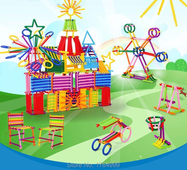 110pcs/pack Kids Plastic Smart Stick Educational Children Building Girl Blocks Toys Kits Sets for Childrens Creativity