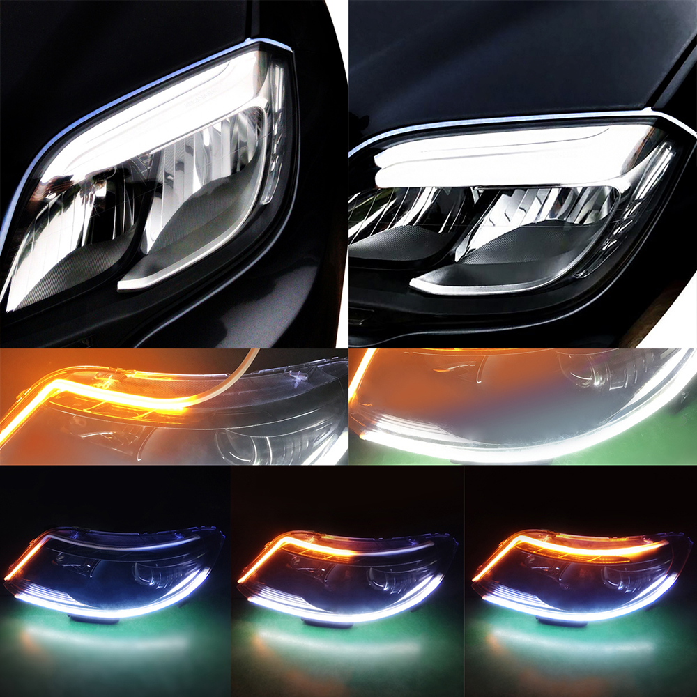 Yellow Flowing Super Bright Universal Car Styling Turn Signal White Daytime Running Lights 12V LED DRL Flexible For BMW AUDI KIA in Signal Lamp from Automobiles Motorcycles