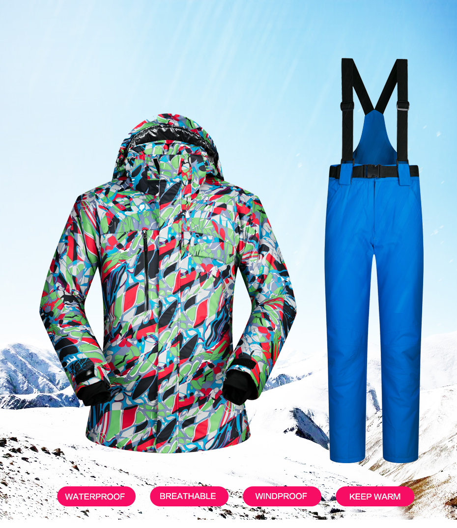 9757f640db Men Skiing Jacket Windproof Waterproof Snow Thicken Thermal ...