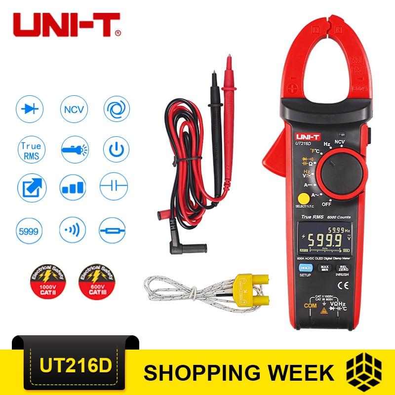 UNI-T UT216D 600A True RMS цифровой токовые клещи AC/DC ток V/A емкость для измерения переменного тока