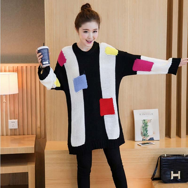 Maternity New Winter 2016 Korean Fashion Big Yards Pregnant Women Long-Sleeved Round Neck Sweater Hedging Baby Cardigan