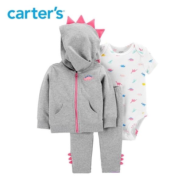 3ea6823ea 3pcs cute dinosaur bodysuit spike pants spike jacket set Carter's baby girl  spring autumn clothing 121I879