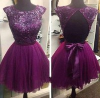 robe demoiselle d'honneur robe de mariee Purple Bridesmaid Dress Sequins Appliques vestido madrinha Bridesmaid Dresses Tulle