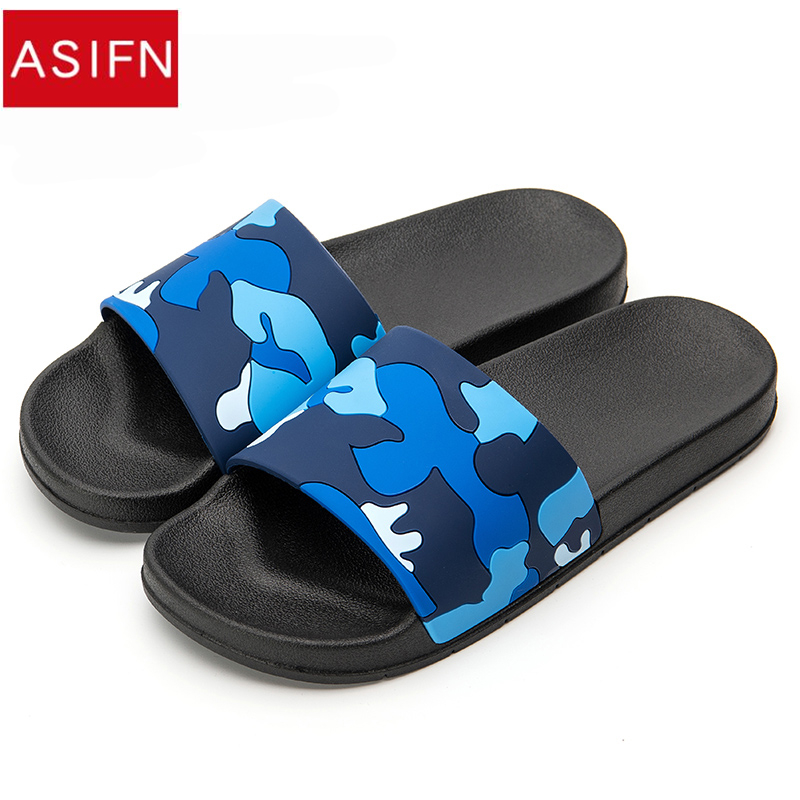 ASIFN Men's Slippers Flip Flops Camo Casual Slides Men Shoes Non-slip Beach Shoes Summer Sandals 4 Colors Zapatos Hombre