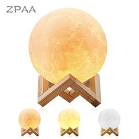 10CM 15CM 20CM Rechargeable 3D Print Moon Lamp Touch Switch Dimmable Bedroom Bookcase Night Light Nightlight