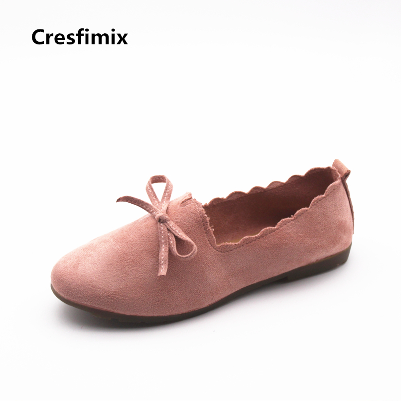 Cresfimix sapatos femininas women fashion new comfortable slip on flat shoes with bow tie lady pink street shoes cute shoes b855 cresfimix femmes appartements women fashion comfortable mesh breathable flat shoes lady cute beige bow tie shoes zapatos b2859