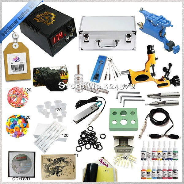 Starter 2 rotary tattoo kit with teaching CD, Complete tattoo kit with power supply needles inks and tattoo accessories TK-2506 taylor n watts m hiccup and friends starter level cd