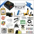 Starter 2 rotary tattoo kit with teaching CD, Complete tattoo kit with power supply needles inks and tattoo accessories TK-2506