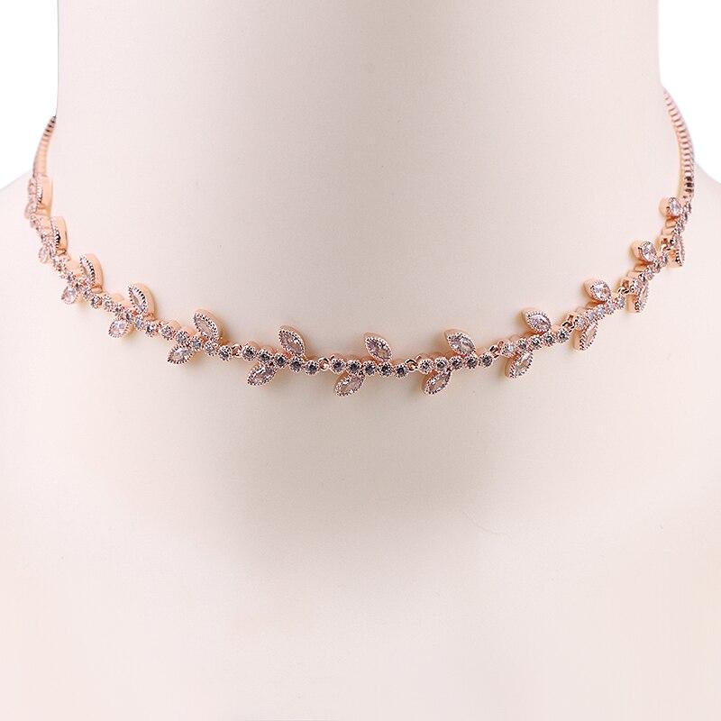 100% Wahr Weimanjingdian Neue Ankunft Zukunftsweisenden Blatt Zirkonia Halsreif Kragen Halsketten Für Frauen Rheuma Und ErkäLtung Lindern