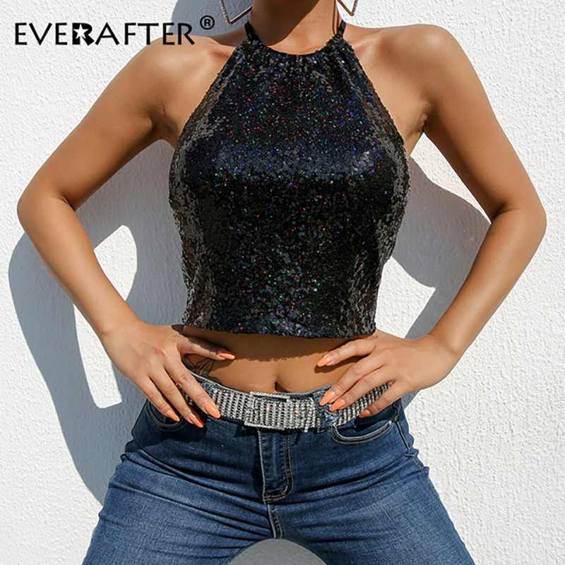 91e23d136a178f EVERAFTER Fashion sequin camis top women balck lace up sexy slim sleeveless  2019 spring streetwear female